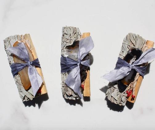 Agate, Sage, Palo Santo & Handmade Incense Bundle