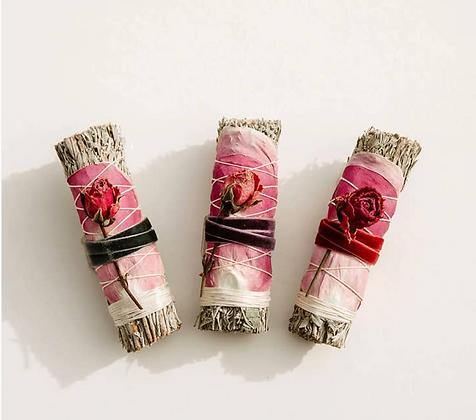 blue sage & roses smudge stick