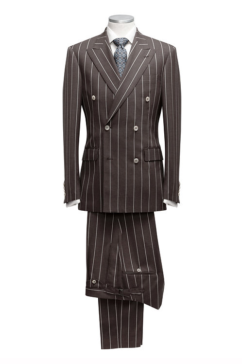 Coffee Brown - Patent Stripes, Loro Piana Travel Fabric, Double Breast Suit