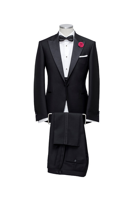 E. Zegna Black Slim-Fit Satin-Trimmed Trofeo Wool & Silk Tuxedo