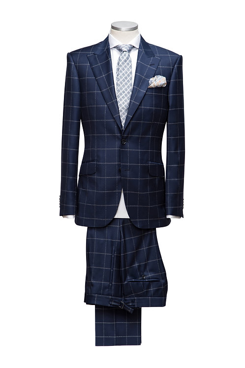 Blue Check, Loro Piana Travel Fabric, Single Breast High-Performance Suit