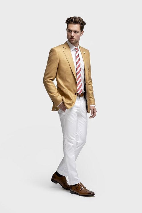 Luxurious White, Loro Piana Fabric, Cotton Slim-Fit Trousers