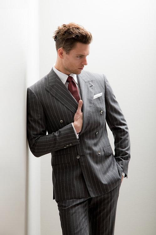 Grey - Patent Stripes, Loro Piana Super 150's Wool Fabric, Lightweight Suit