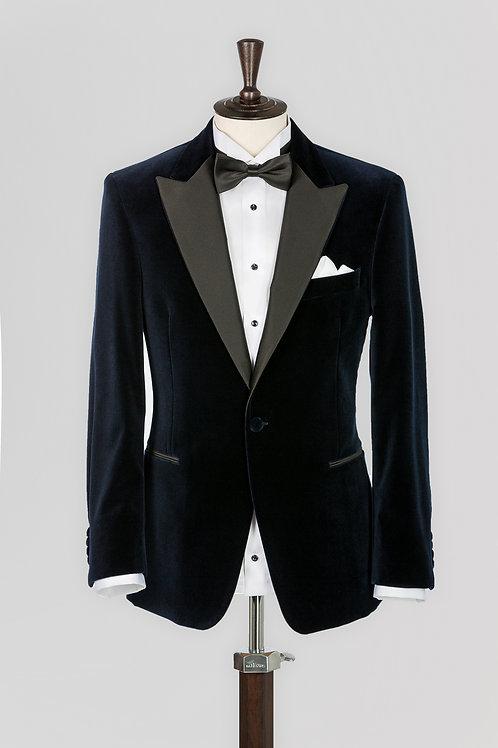 Black Shelton Slim-Fit Cotton-Velvet Tuxedo Jacket