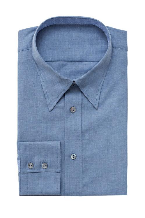 Rich Blue Slim-Fit Single Cuff Cotton-Poplin Shirt
