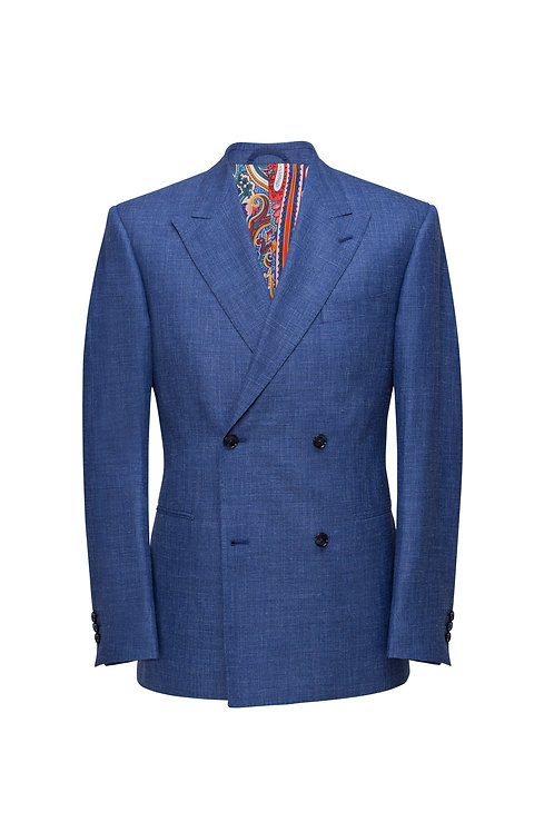 Royal Blue Loro Piana Double-Breast Cashmere And Wool Slim-Fit Jacket