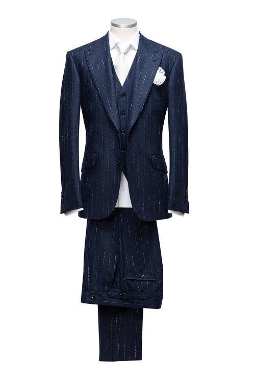 Blue - Patent Stripes, Loro Piana Wool And Cashmere Fabric, 3pcs Suit