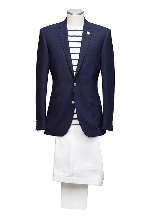 Luxurious Navy Blue Loro Piana Wool Super 170's Slim-Fit Blazer