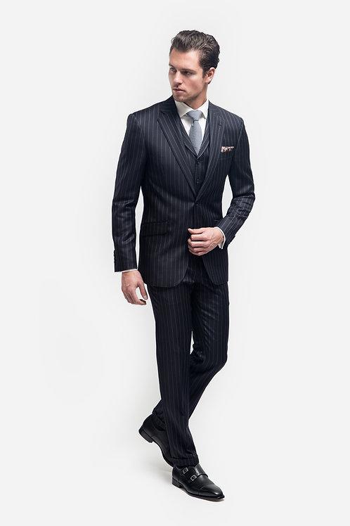Blue With White Stripes, Loro Piana Wish ®️ Super 170's Fabric, 3pcs Suit