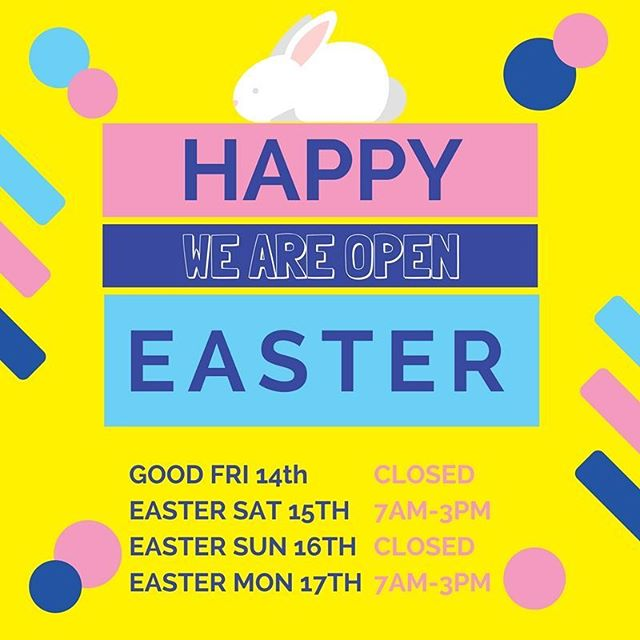 Happy Easter! Check out our oO_pening times for the extra-long weekend