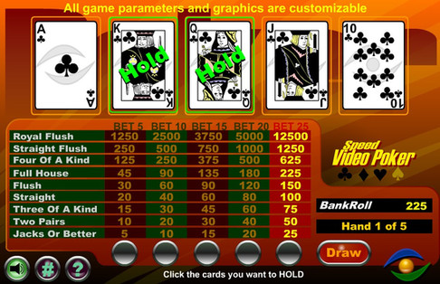 Video Poker Game developed in Flash