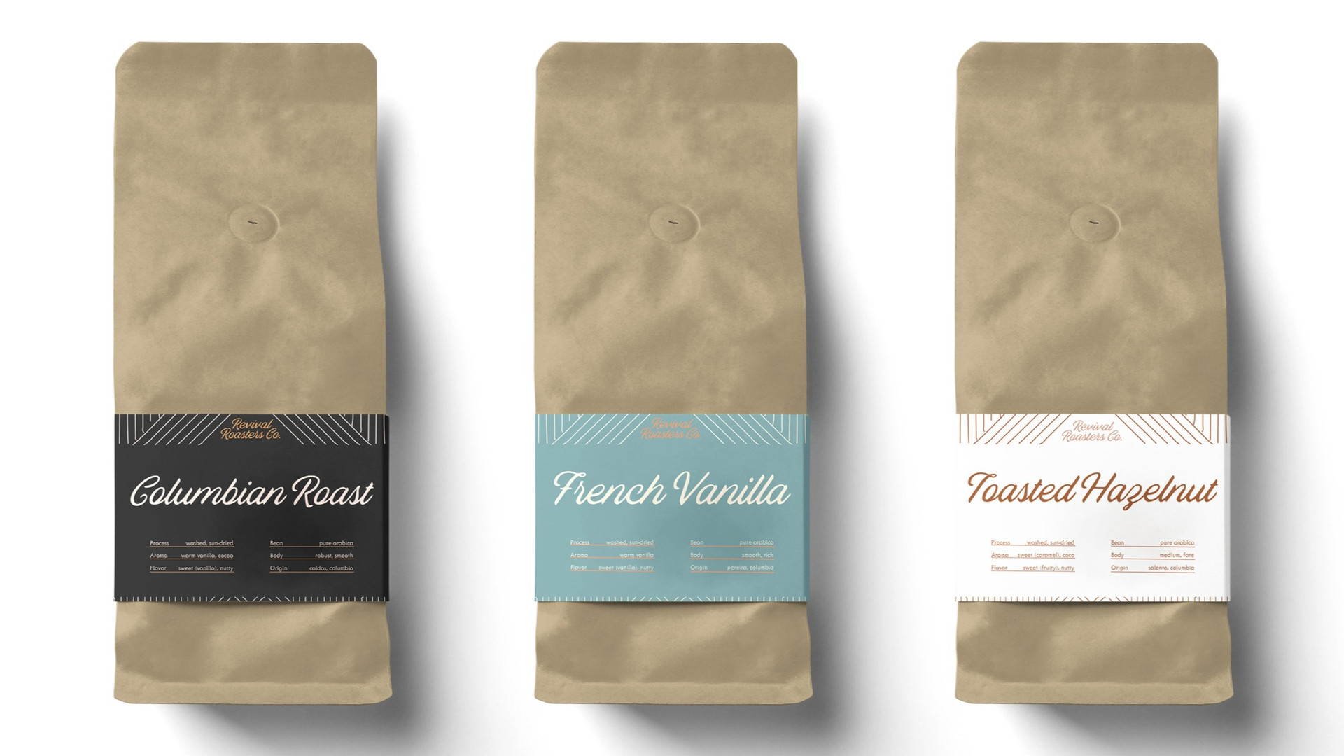 Columbian Roast, French Vanilla, and Toasted Hazelnut Coffee Bean Bag Packaging