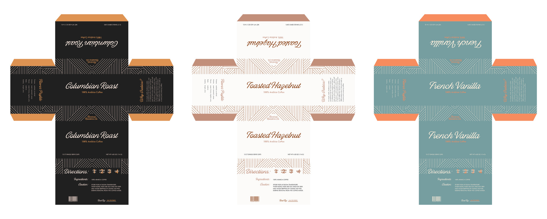 French Vanilla and Toasted Hazelnut Coffee Pod Flat Packaging