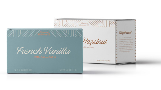 French Vanilla and Toasted Hazelnut Coffee Pod Packaging