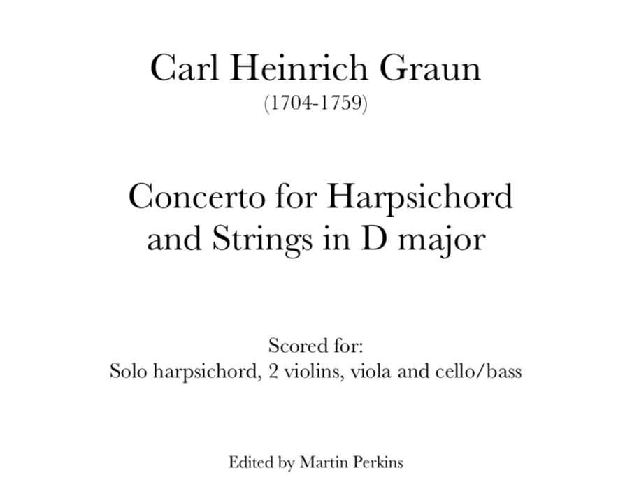 Graun - Harpsichord Concerto in D. Digital Download