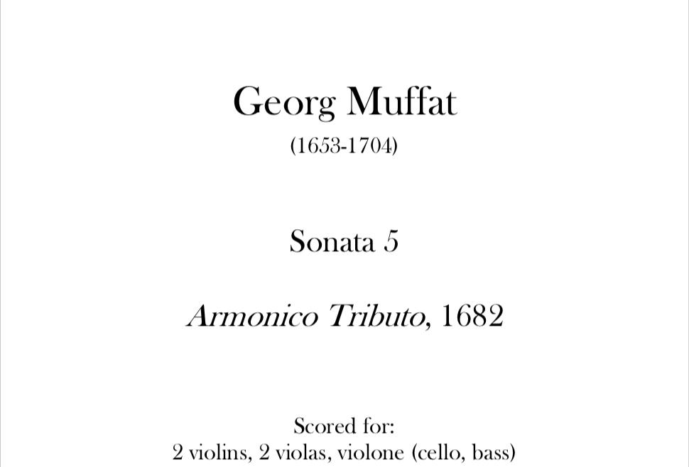 Muffat - Sonata 5 (Armonico Tributo). Digital Download