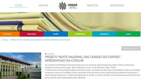 Nota de imprensa sobre a apresentação do projeto na Covilhã
