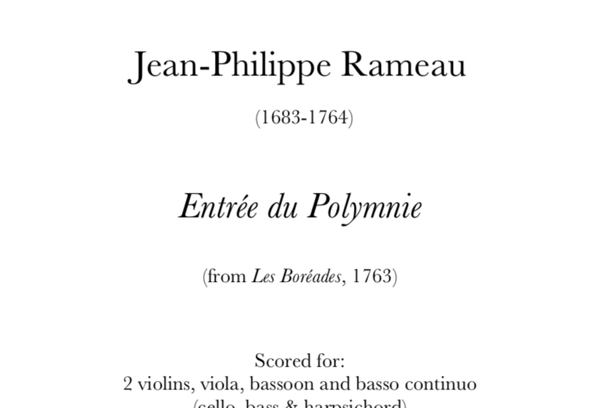 Rameau - Entrée du Polymnie. Digital Download.