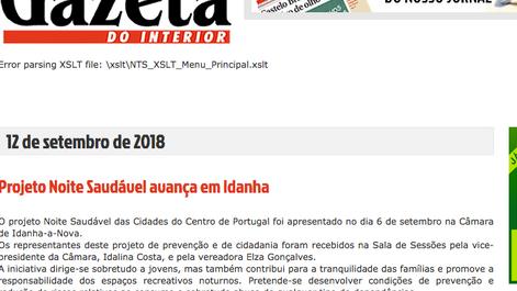 Notícia da Gazeta do Interior sobre a sessão de apresentação em Idanha-a-Nova