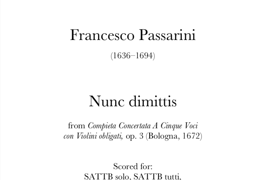 Passarini - Nunc dimittis. Digital Download.