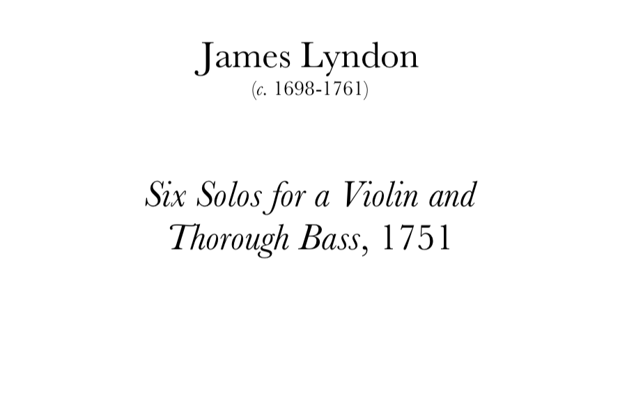 Lyndon: 6 Solos for a Violin. Digital Download