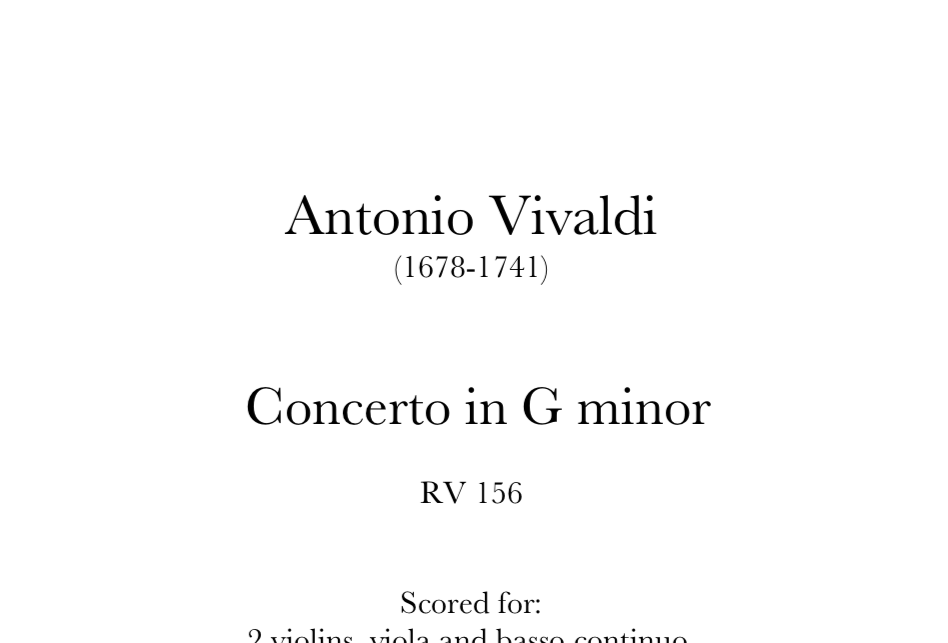 Vivaldi - Concerto in G minor, RV156. Digital Download.