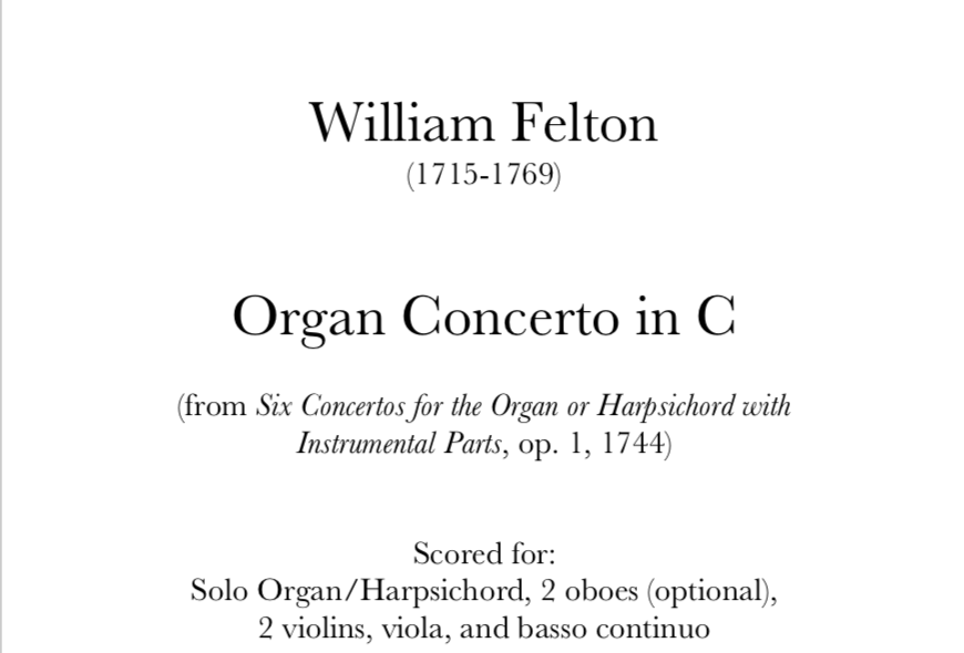 Felton - Organ Concerto in C, op. 1, no. 1. Digital Download