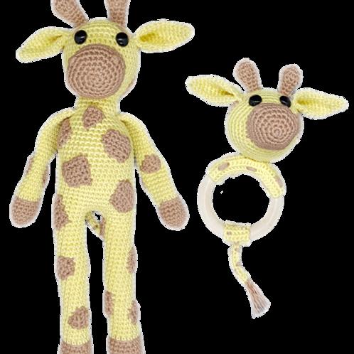 Set - Giraffe knuffel en rammelaar