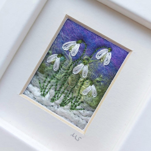 Embroidered Snowdrops on Felted Wool