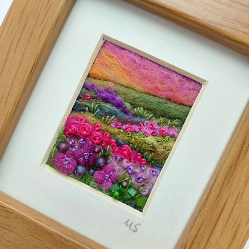 Heather Sunset - felted wool and embroidered landscape picture