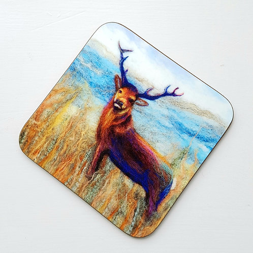 Felted Stag coaster - printed from original felted artwork