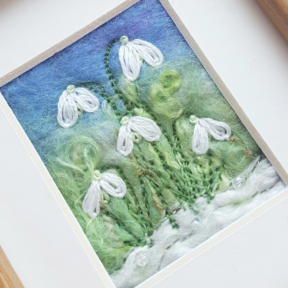 Embroidered snowdrops picture