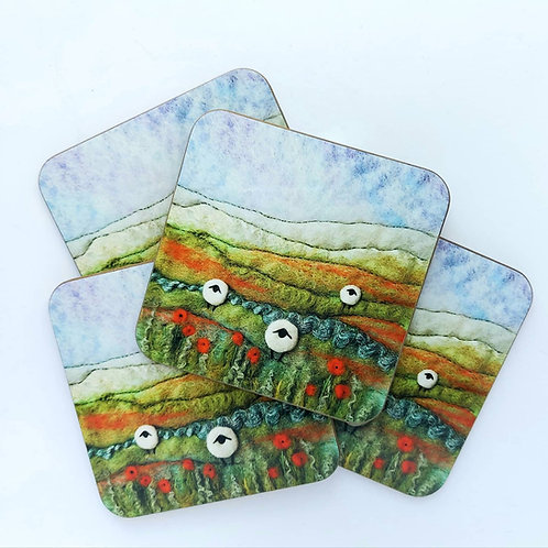 Sheep in the Poppies Coaster
