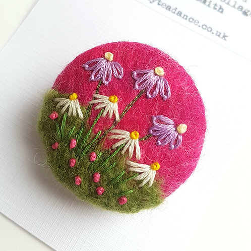Felted wool & Embroidered Flowers brooch