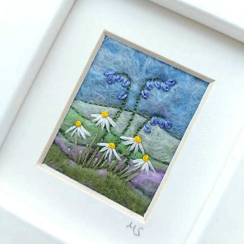 Felted wool and embroidered bluebells and daisies picture