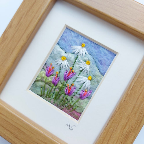 Felted wool and embroidered flowers picture