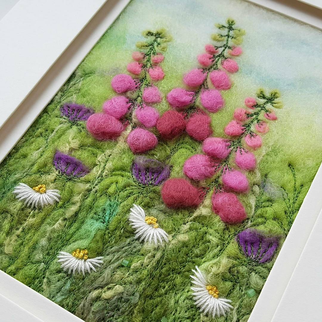 felted foxgloves and daisies