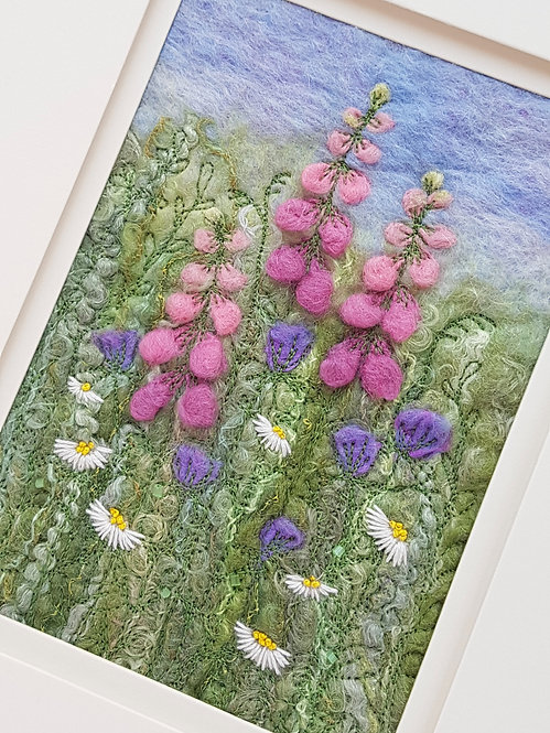 Foxgloves & Daisies Felted & Embroidered Picture