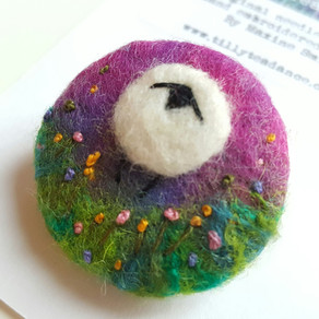 Petunia the Sheep - Needle felted brooches & WOYWW