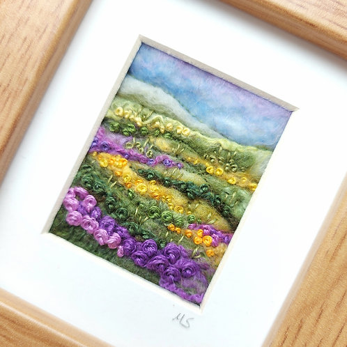 Purple Hills - felted wool and embroidered landscape picture