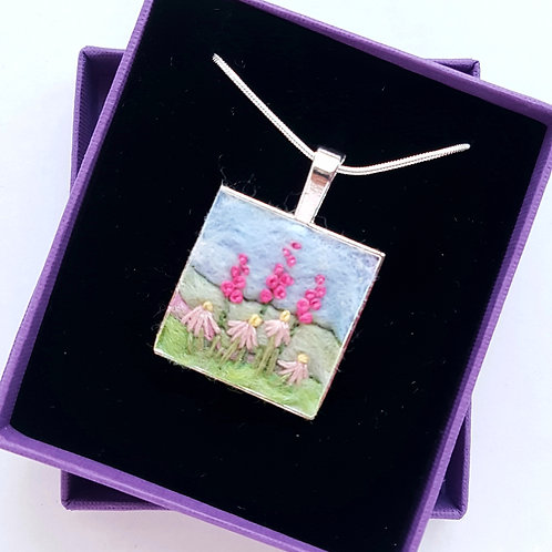 Felted wool embroidered floral pendant on chain