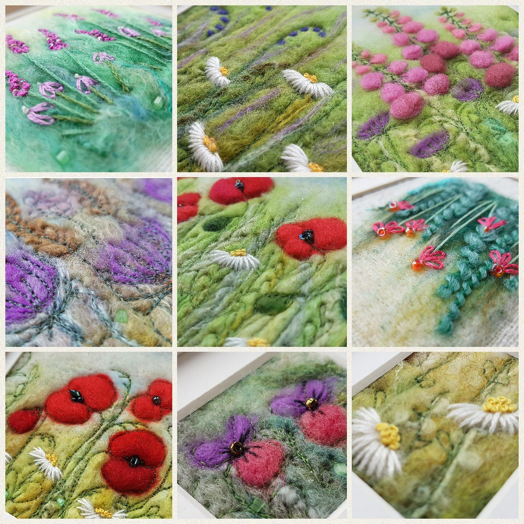 collage of felted flower pictu