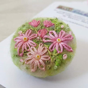 Needle felted brooches & WOYWW
