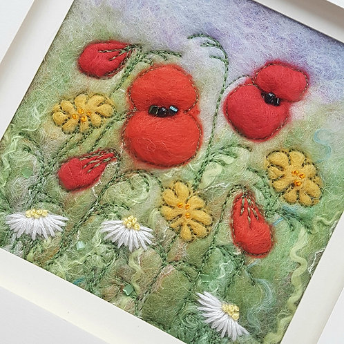 Poppy Meadow Felted and Embroidered Picture