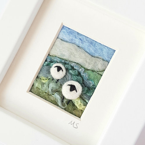 Sheep in a Spring Meadow - felted and embroidered miniature picture