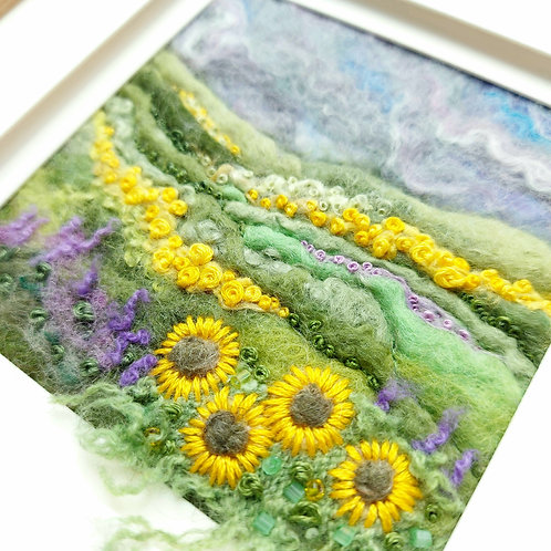 Sunflowers and Lavender - felted wool and embroidered landscape picture