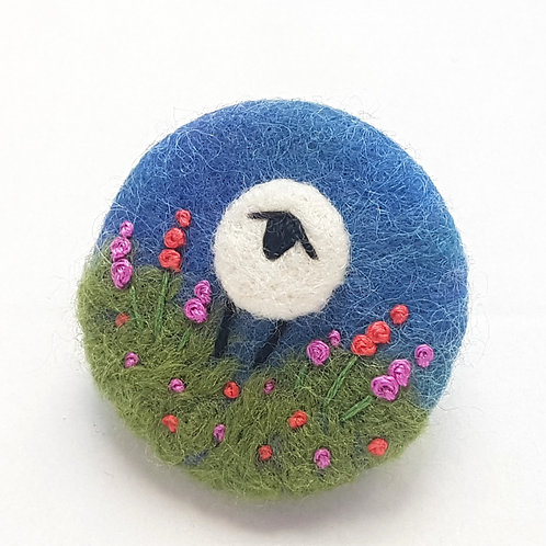 Felted wool sheep brooch