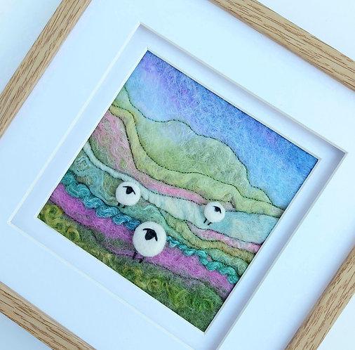 Felted wool sheep landscape