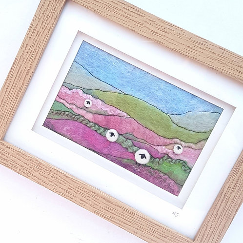 Felted wool sheep picture