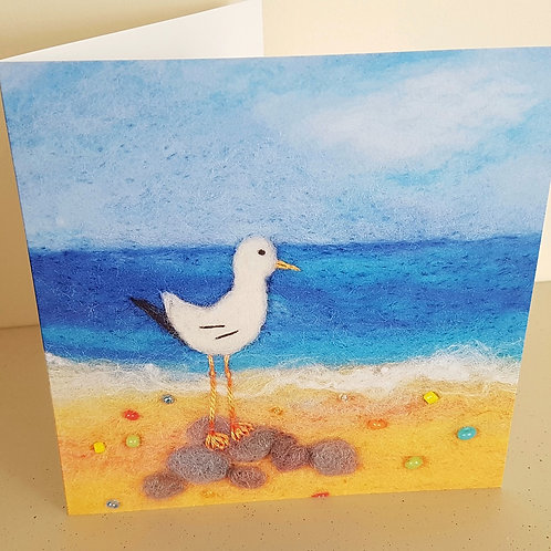 Garth the Felted Gull greetings card - printed from original felted artwork